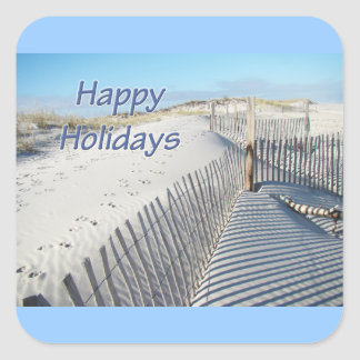 Happy Holidays Sand Dunes and Fences Square Sticker