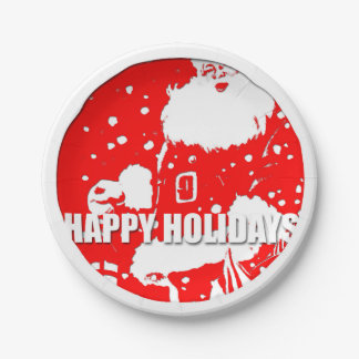 Happy Holidays Santa Claus Christmas Paper Plate 7 Inch Paper Plate