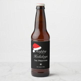 Happy Holidays Santa Hat Beer Label - Black