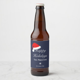 Happy Holidays Santa Hat Beer Label - Blue