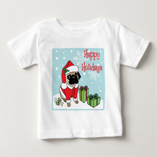 Happy Holidays Santa Pug Baby T-Shirt
