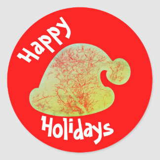 Happy Holidays Santa stickers, red and green round Classic Round Sticker