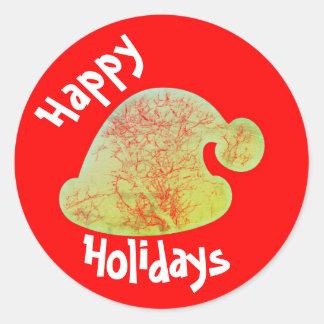 Happy Holidays Santa stickers, red and green round Round Sticker