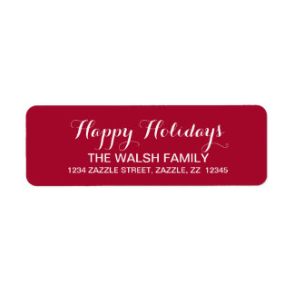 Happy Holidays Script Return Address Label