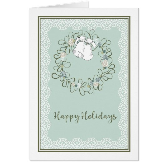 Happy Holidays Seasonal Card with Wreath