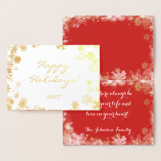 Happy Holidays Shimmering Gold Foil Snowflakes Foil Card