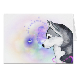 Happy Holidays Siberian Husky Snow Flurry Notecard