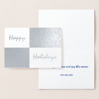 Happy Holidays Silver Foil and White Rectangles Foil Card