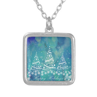 Happy Holidays Silver Plated Necklace