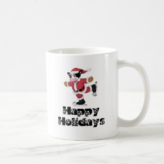 Happy Holidays Skating Santa Cow Coffee Mug