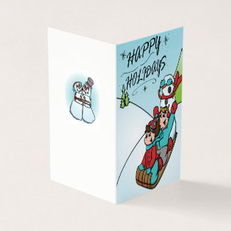 Happy Holidays Sled Ride Folding Card