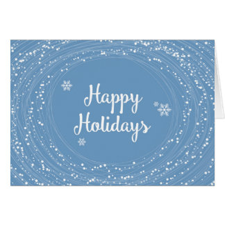 Happy Holidays Snow Dots, Blue and White, Elegant Card
