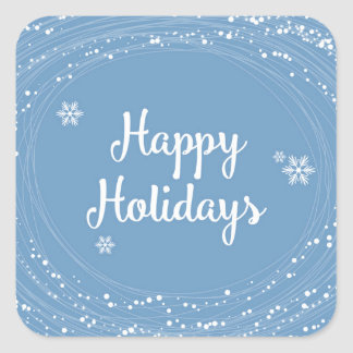 Happy Holidays Snow Dots, Blue and White, Elegant Square Sticker