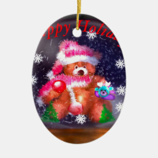 Happy Holidays Snow Globe Ceramic Ornament