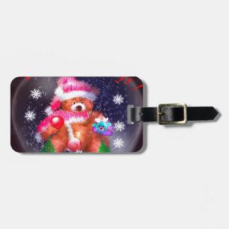 Happy Holidays Snow Globe Luggage Tag