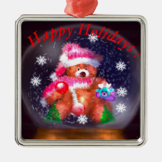 Happy Holidays Snow Globe Metal Ornament