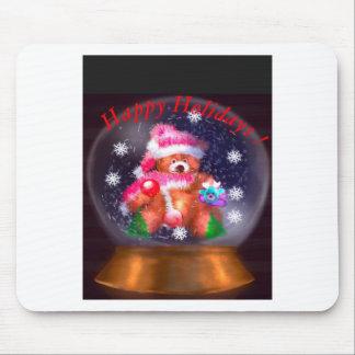 Happy Holidays Snow Globe Mouse Pad