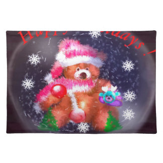 Happy Holidays Snow Globe Placemat