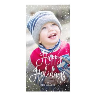 Happy Holidays Snow Photo Card