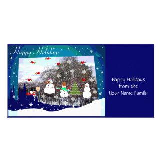 Happy Holidays Snow Scene Personalized Photo Card