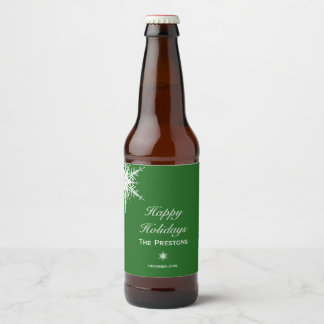 Happy Holidays Snowflake Beer Label - Green