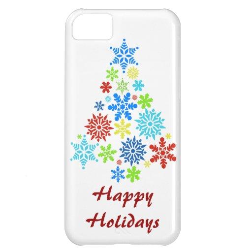 Happy Holidays Snowflake Christmas Tree iPhone 5 iPhone 5C Case