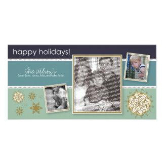 Happy Holidays Snowflake Sweet 3-Photo 05 Photo Greeting Card