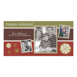 Happy Holidays Snowflake Sweet 3-Photo :: 09 Photo Card Template