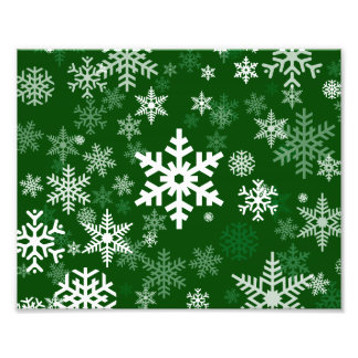 Happy Holidays Snowflakes Green for Everyone Photo Print