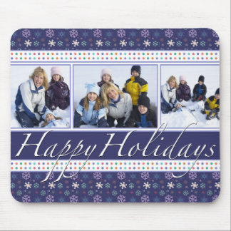 Happy Holidays Snowflakes Photo Template Mouse Pad