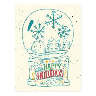 Happy Holidays Snowglobe Postcard