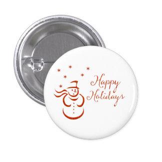 Happy Holidays Snowman 1 Inch Round Button