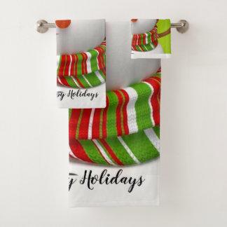 Happy Holidays Snowman Bath Towel Set