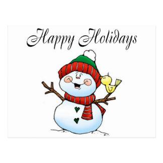 Happy Holidays (Snowman Birdy) Postcard
