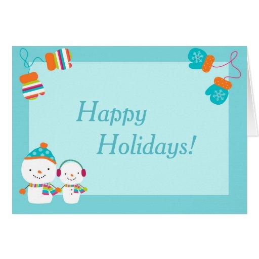 Happy Holidays Snowman Folded Christmas Card