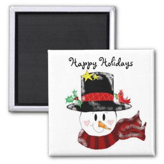 Happy Holidays Snowman Magnet