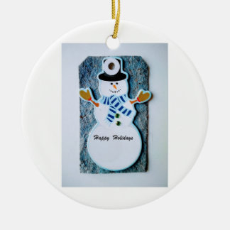 Happy holidays Snowman Ornament with Pouch