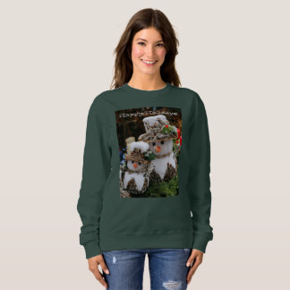 Happy Holidays Snowman Print Green Sweatshirt