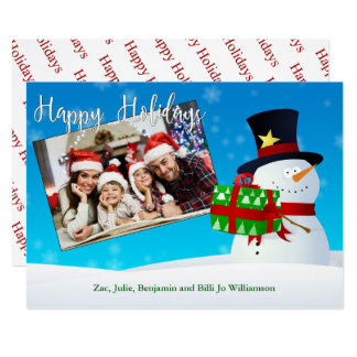 Happy Holidays Snowman With a Gift and Your Photo Card