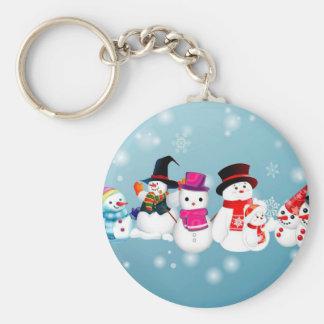 Happy Holidays Snowmen Keychain