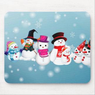 Happy Holidays Snowmen Mouse Pad