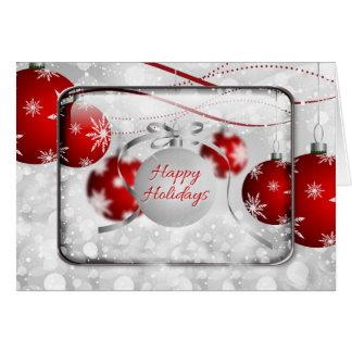 Happy Holidays Sparkling Red Ornaments Card