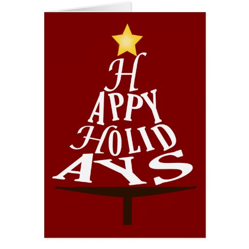 Happy Holidays Stacked Christmas Tree Greeting Card