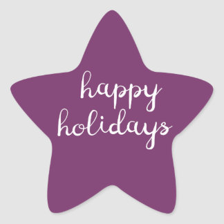 Happy Holidays Star Purple Sticker