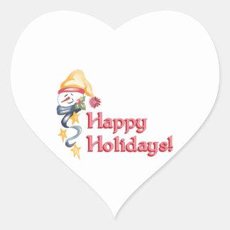 Happy Holidays! Heart Stickers
