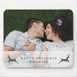 Happy Holidays Stylish Deer Photo Mousepad