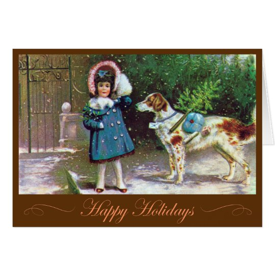 """Happy Holidays"" Stylish Vintage Card"