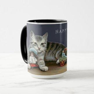 Happy Holidays Sweet Silver Tabby Kitten Mug