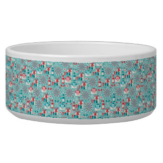 Happy Holidays Teal Blue and Red Pattern Dog Food Bowls