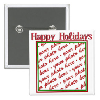Happy Holidays Text Design Photo Frame Buttons